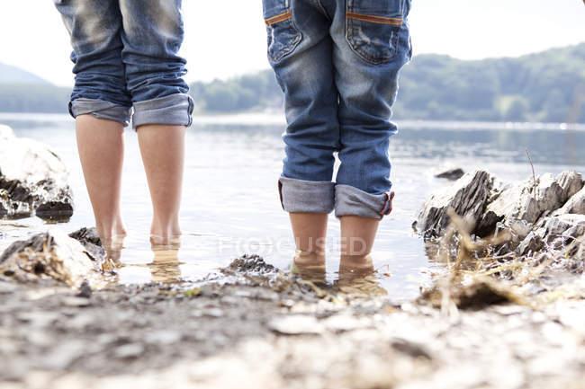 Primer plano de dos niños de pie a orillas del lago - foto de stock