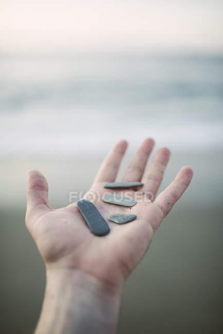 Woman's hand holding pebbles — Stock Photo