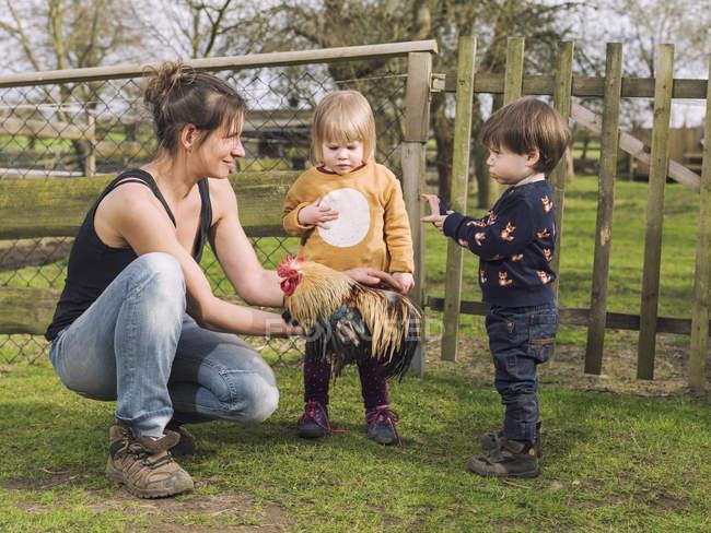 Madre e hijos pequeños con una polla en un jardín - foto de stock