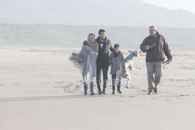 Famiglia passeggiando sulla spiaggia con cane a bella natura — Foto stock