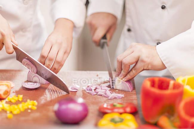 Cocineros para picar cebolla - foto de stock