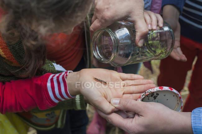 Nahaufnahme von Kindern, die Würmer in der Natur sammeln — Stockfoto