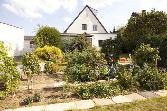 Germania, casa unifamiliare con orto in primo piano — Foto stock