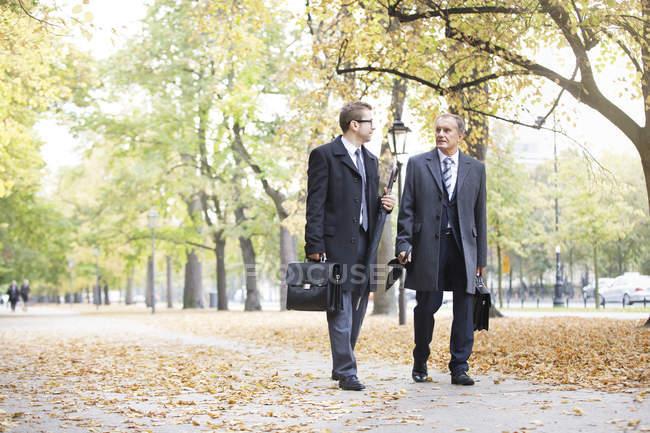 Uomini d'affari che camminano e parlano nel parco — Foto stock