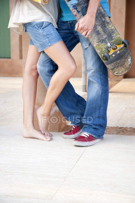 Legs of young couple in love — Stock Photo