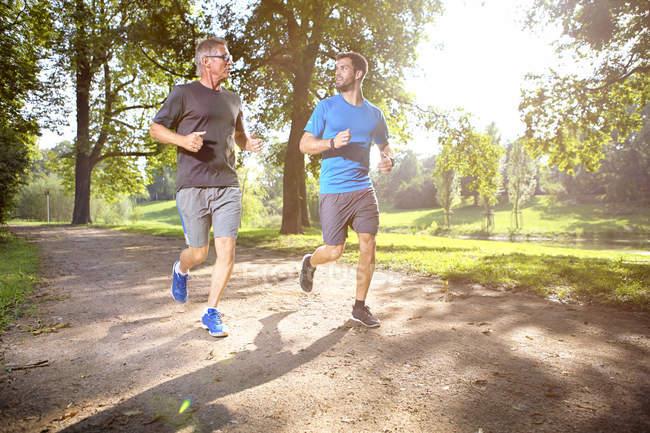 Due uomini che fanno jogging insieme in un parco — Foto stock