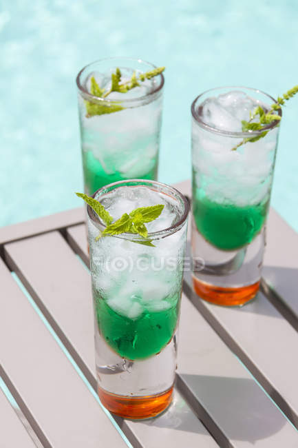 Fresh cocktail with mint liquer — Stock Photo