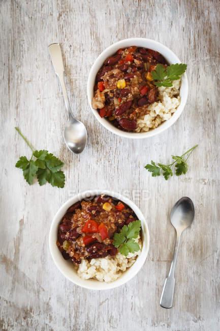 Vegan Chili sin carne, vista dall'alto — Foto stock