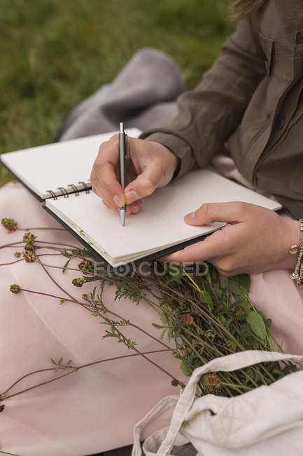 Young woman sitting on a meadow writing down something in her notebook, partial view — Stock Photo