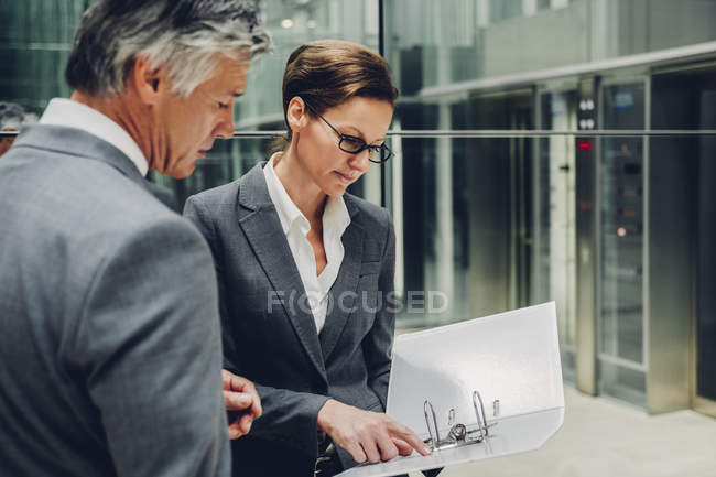 Professional business colleagues discussing reports in a office corridor — Stock Photo