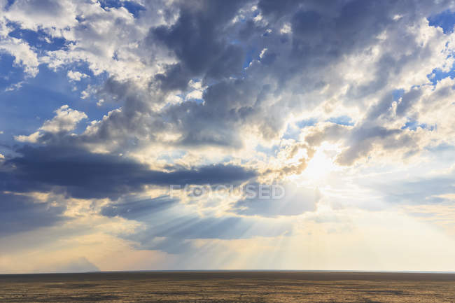 Namibia, Etosha National Park and view of sun surrounded by clouds — Stock Photo