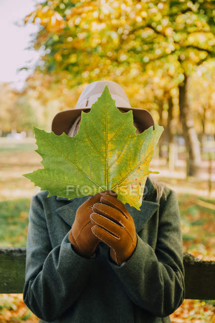 Woman hiding her face behind an  autumn leaf — Stock Photo