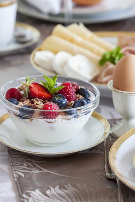 Свіжі фрукти мюслі в миску на сніданок на кухні настільні — стокове фото