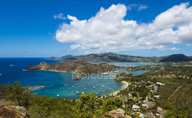 Aerial view of English Harbour and Windward Bay at daytime, Antigua and Barbuda, West Indies — Stock Photo