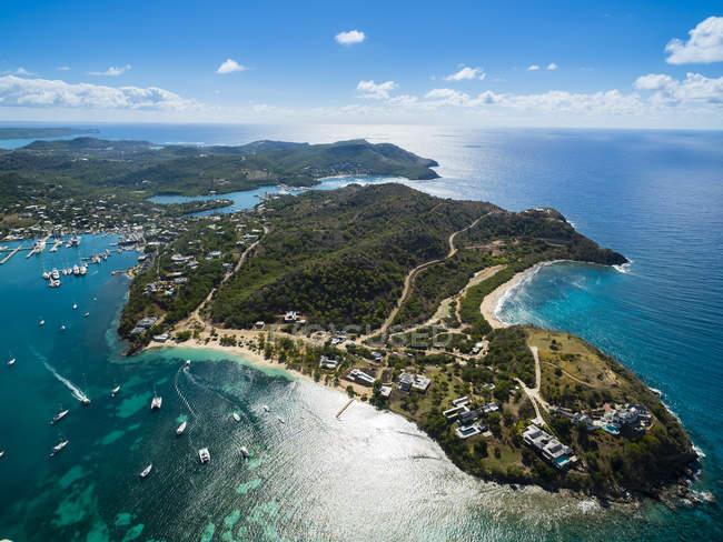 Luftbild von English Harbour und Windward Bucht am Tag, Antigua und Barbuda, West Indies — Stockfoto