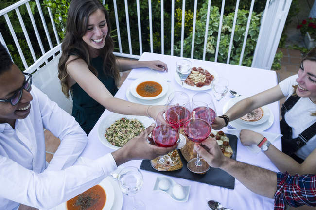 Friends toasting with lambrusco wine during a summer dinner — Stock Photo