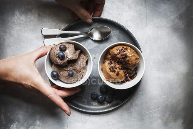Schalen mit veganer Blaubeerbanane und Schokoladenbananeneis — Stockfoto