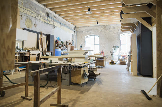 Interior of spacious carpenters workshop — Stock Photo
