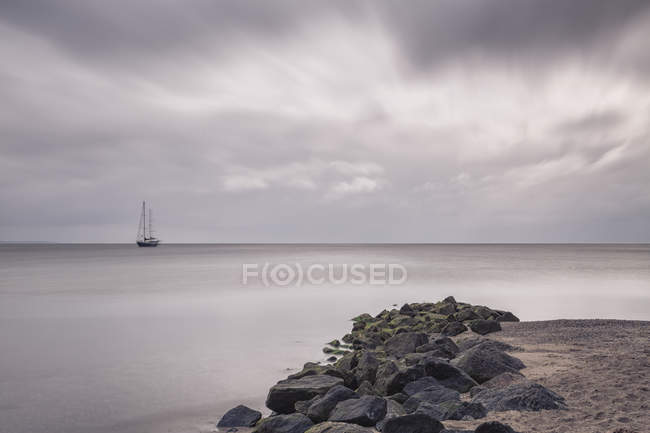 Germany, Timmendorf Beach, Baltic Sea, Sailing ship over water — Stock Photo