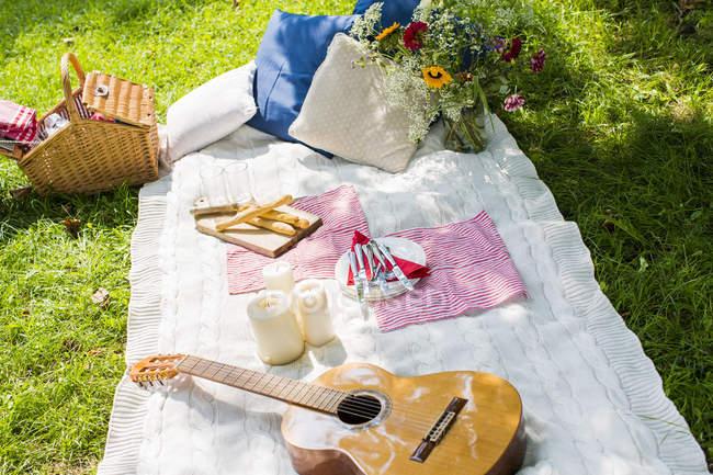 Picknickdecke mit Gitarre, Kerzen und Kissen auf einer Wiese — Stockfoto