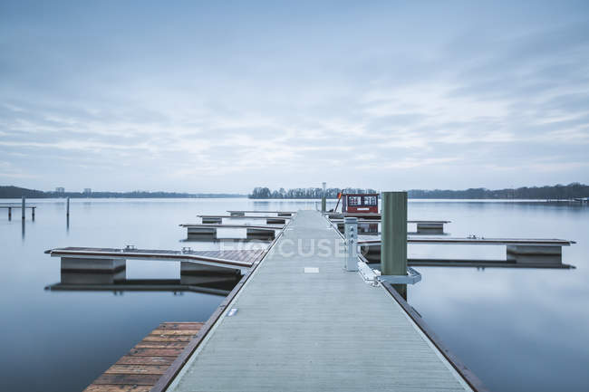 View of empty pier in the morning, Lake Tegel, Berlin, Germany — Stock Photo
