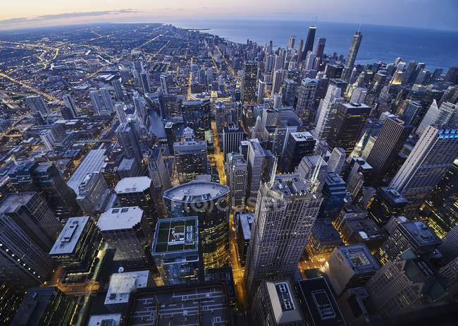 USA, Illinois, Chicago, View from Willis Tower in the evening — Stock Photo