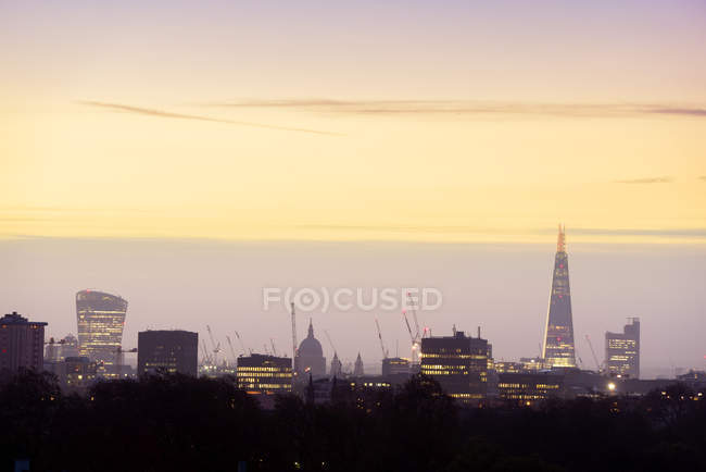 UK, London, skyline with 20 Fenchurch Street, St Paul's Cathedral and The Shard at dawn — Stock Photo