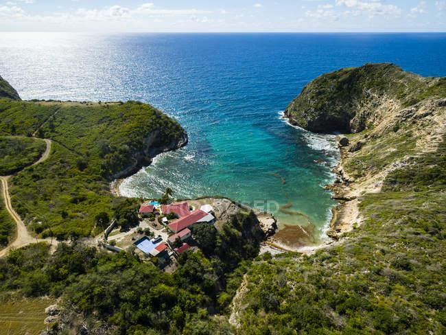 Westindische Inseln, Antigua und Barbuda, Antigua, Luftaufnahme, Half Moon Bay — Stockfoto
