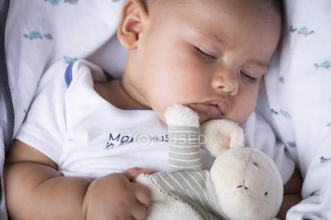 Retrato de menino com brinquedo macio a dormir — Fotografia de Stock