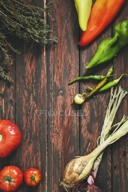 Peppers with tomatoes and savory — Stock Photo