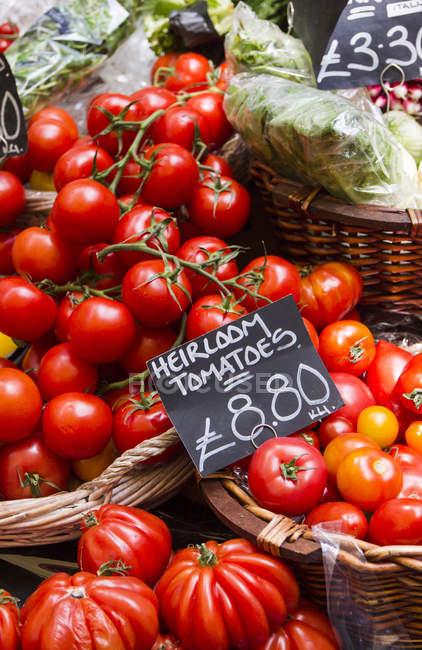 Свежие томаты на фермерском рынке — стоковое фото