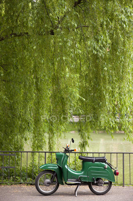 Green vintage moped parked under tree next to lake — Stock Photo