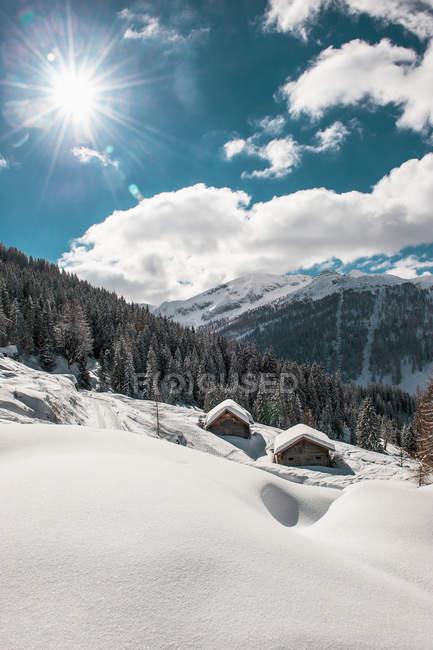 Austria, Salzburgo, Altenmarkt-Zauchensee, zona de esquí a la luz del sol - foto de stock