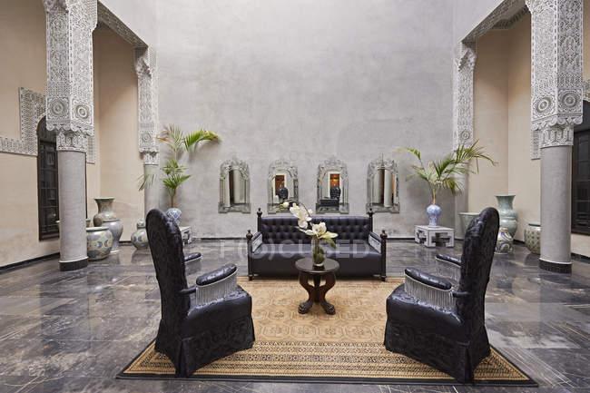 Morocco, Fes, Hotel Riad Fes, lounge interior — Stock Photo
