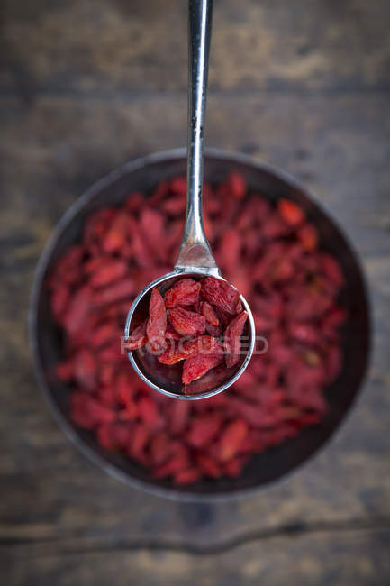 Top view of dry organic Goji berries — Stock Photo