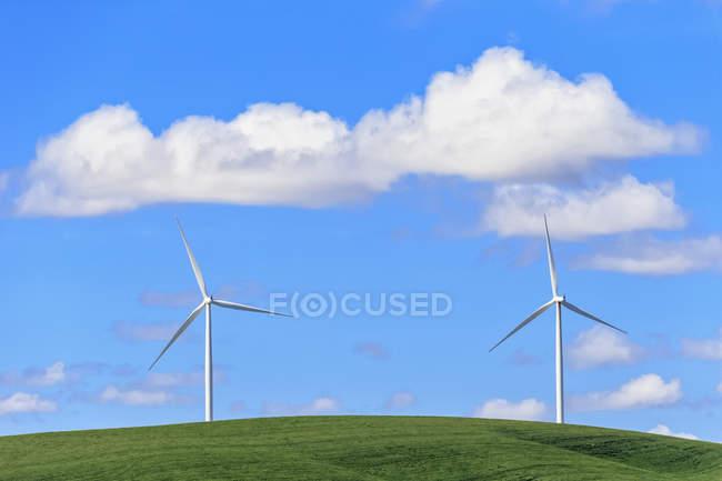 USA, Idaho, Palouse, éoliennes sur Prairie et nuages dans le ciel bleu — Photo de stock