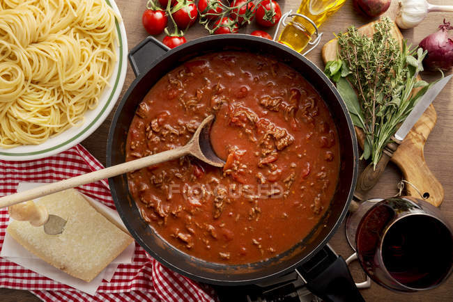 Top view of Sauce Bolognese in pan — Stock Photo