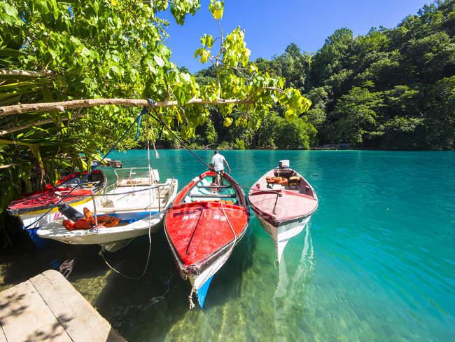 Ямайка, Порт-Антоніо, рибальські човни у мальовничому Блакитна Лагуна — стокове фото