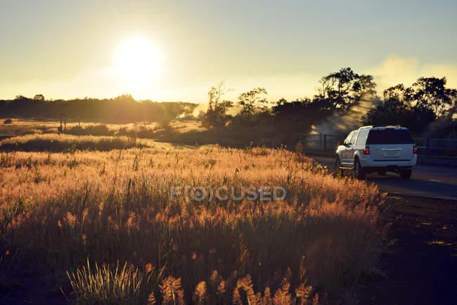 USA, Hawaii, Big Island, Volcanoes National Park, sulfur vapor in morning twilight at Steaming Bluff — Stock Photo