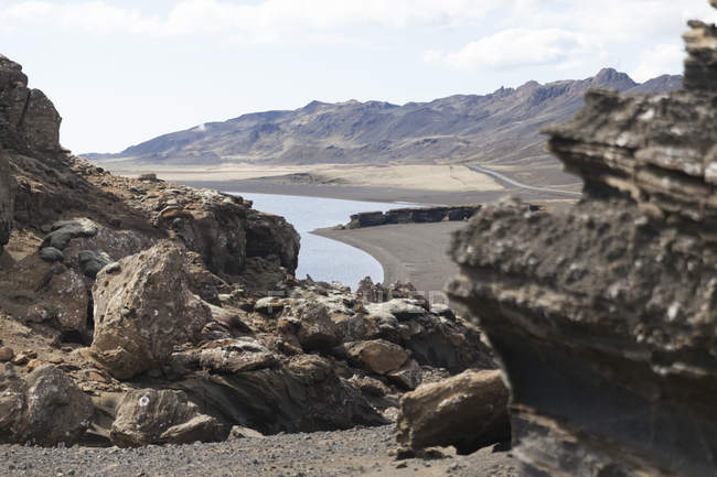 Iceland, Reykjanes, Kleifarvatn, view of stones and lake on background — Stock Photo