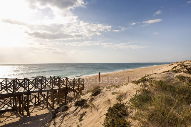 Boardwalk to beach of Atlantic ocean — Stock Photo