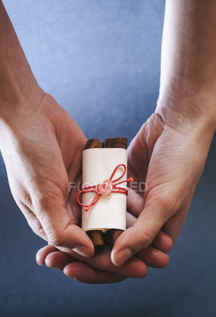 Female hands holding self-made scroll gift — Stock Photo