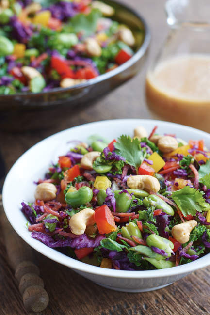 Asian slaw salad with red cabbage, kale, fava beans, cashew and cilantro — Stock Photo