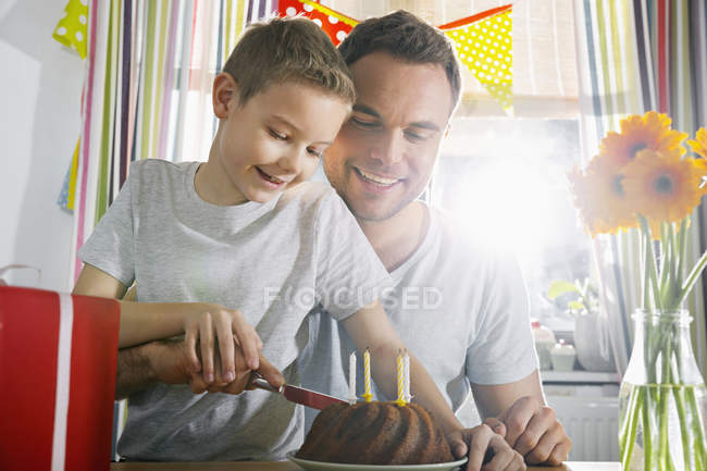 Father and son cutting birthday cake Stock Photo 180106814