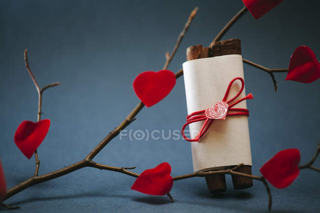 Self-made scroll and fixed red paper hearts on a twig — Stock Photo