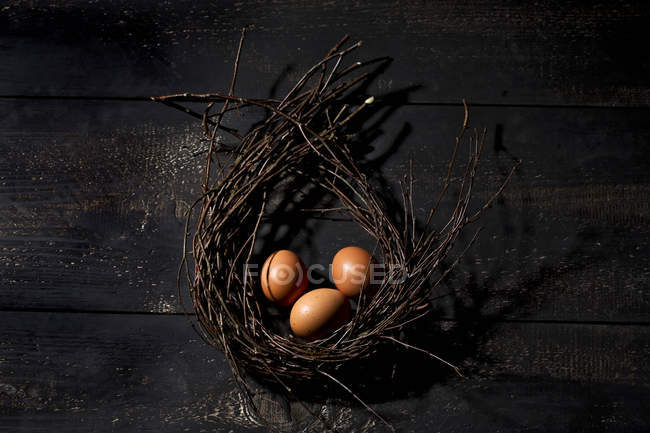 Three brown Easter eggs in a nest on dark ground — Stock Photo