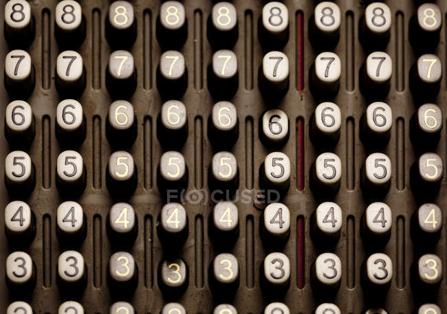 Buttons of old calculator with numbers — Stock Photo