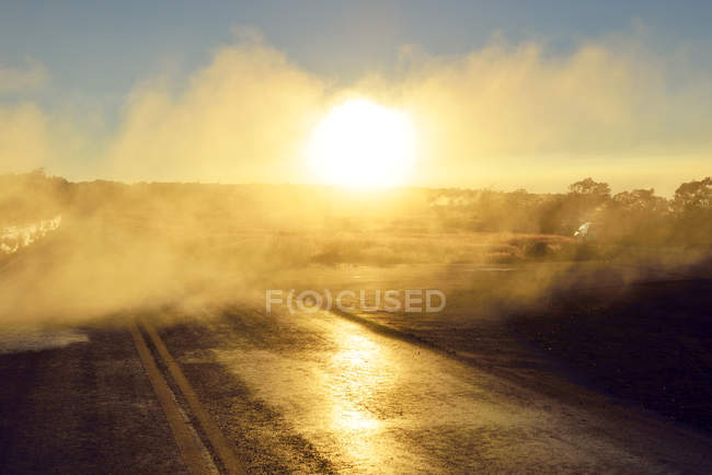 USA, Hawaii, Big Island, Volcanoes National Park, sulfur vapor over lane in morning twilight at Steaming Bluff — Stock Photo