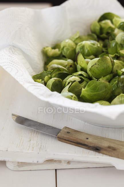 Biomüll mit Blättern von Rosenkohl — Stockfoto