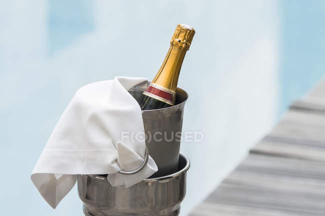 Пляшку шампанського в Шампані кулер — стокове фото